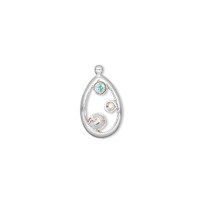 drop, sterling silver and swarovski crystals, clear ab, 16x9mm teardrop. sold individually.