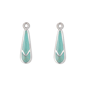 drop, sterling silver and turquoise (imitation), 17x6mm inlaid teardrop. sold per pkg of 2.