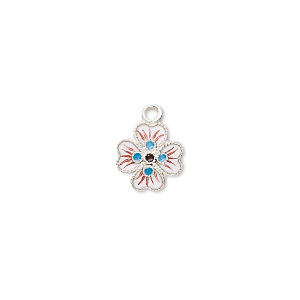 drop, sterling silver with cloisonne, white, 10x10mm flower. sold individually.