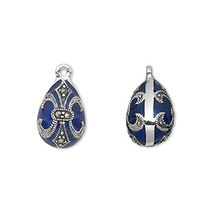 drop, sterling silver with marcasite and enamel, blue, 15x10mm teardrop with fleur-de-lis design. sold individually.