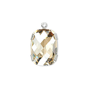 drop, swarovski crystal and silver-plated brass, crystal golden shadow with silver-foil back, 18x13mm single-stone faceted rounded rectangle. sold individually.