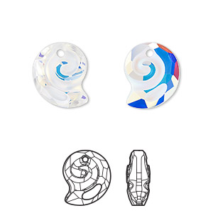 drop, swarovski crystal, partially frosted crystal ab, 14mm faceted sea snail pendant (6731). sold per pkg of 36.