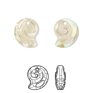 drop, swarovski crystal, partially frosted crystal luminous green, 14mm faceted sea snail pendant (6731). sold per pkg of 36.