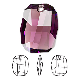 drop, swarovski crystals, amethyst, 28x21mm faceted graphic pendant (6685). sold per pkg of 24.