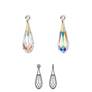 drop, swarovski crystals and gold-plated brass, crystal ab, 21mm faceted pure drop pendant (6532). sold per pkg of 24.