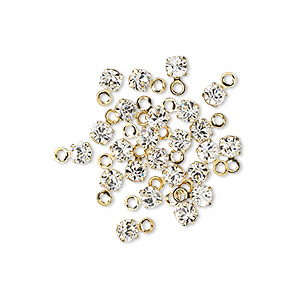 drop, swarovski crystals and gold-plated brass, crystal clear, 3-3.2mm round (17704), pp24. sold per pkg of 48.
