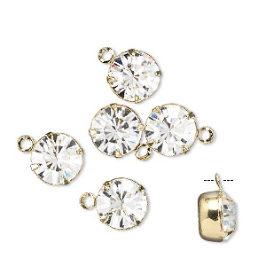 drop, swarovski crystals and gold-plated brass, crystal clear, 8.16-8.41mm round (17704), ss39. sold per pkg of 6.