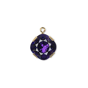 drop, swarovski crystals and gold-plated brass, crystal passions, purple velvet, 13x13mm diamond (18704). sold individually.