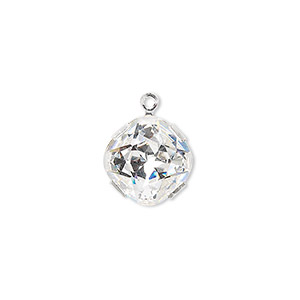 drop, swarovski crystals and rhodium-plated brass, crystal clear, 13x13mm diamond (18704). sold per pkg of 48.