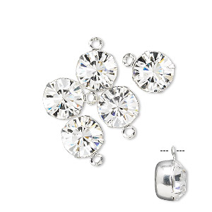 drop, swarovski crystals and rhodium-plated brass, crystal clear, 8.16-8.41mm round (17704), ss39. sold per pkg of 48.
