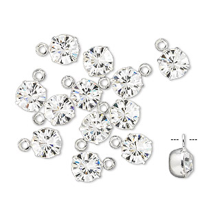 drop, swarovski crystals and rhodium-plated brass, crystal passions, crystal clear, 6.15-6.32mm round (17704), ss29. sold per pkg of 12.