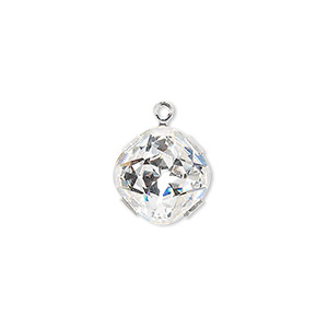 drop, swarovski crystals and rhodium-plated brass, crystal passions, crystal clear, 13x13mm diamond (18704). sold individually.