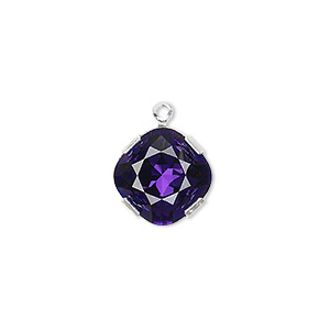 drop, swarovski crystals and rhodium-plated brass, crystal passions, purple velvet, 13x13mm diamond (18704). sold individually.