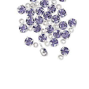drop, swarovski crystals and rhodium-plated brass, crystal passions, tanzanite, 4-4.1mm round (17704), pp32. sold per pkg of 24.