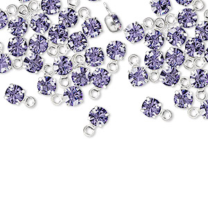 drop, swarovski crystals and rhodium-plated brass, tanzanite, 4-4.1mm round (17704), pp32. sold per pkg of 48.