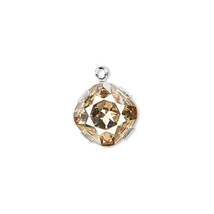 drop, swarovski crystals and silver-plated brass, crystal golden shadow, 13x13mm diamond (18704). sold individually.