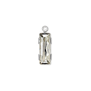drop, swarovski crystals and silver-plated brass, crystal silver shade, silver-foil back, 19x6mm single-stone faceted rectangle. sold per pkg of 24.