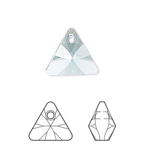 drop, swarovski crystals, aquamarine, 16mm xilion triangle pendant (6628). sold per pkg of 72.