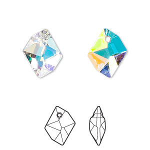 drop, swarovski crystals, crystal ab, 14x11mm faceted cosmic pendant (6680). sold per pkg of 144 (1 gross).