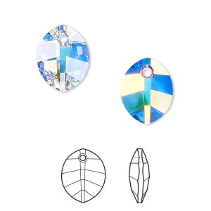 drop, swarovski crystals, crystal ab, 14x11mm faceted pure leaf pendant (6734). sold per pkg of 108.