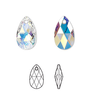drop, swarovski crystals, crystal ab, 16x9mm faceted pear pendant (6106). sold per pkg of 144 (1 gross).