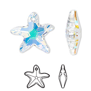 drop, swarovski crystals, crystal ab, 21x20mm faceted starfish pendant (6721). sold per pkg of 30.