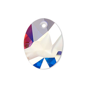 drop, swarovski crystals, crystal ab, 26x20mm faceted kaputt oval pendant (6911). sold individually.