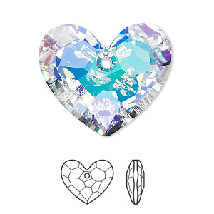 drop, swarovski crystals, crystal ab, 28x23mm faceted truly in love heart pendant (6264). sold per pkg of 16.