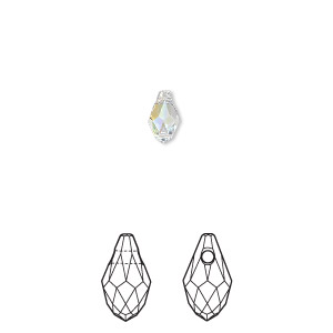 drop, swarovski crystals, crystal ab, 7x4mm faceted briolette pendant (6007). sold per pkg of 360.