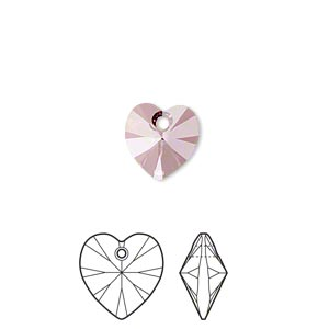 drop, swarovski crystals, crystal antique pink, 10x10mm xilion heart pendant (6228). sold per pkg of 288 (2 gross).