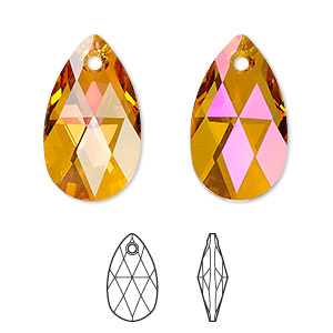 drop, swarovski crystals, crystal astral pink, 22x13mm faceted pear pendant (6106). sold per pkg of 96.