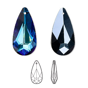 drop, swarovski crystals, crystal bermuda blue, 24x12mm faceted teardrop pendant (6100). sold per pkg of 36.