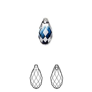 drop, swarovski crystals, crystal blend colors, crystal clear and montana, 13x6.5mm faceted briolette pendant (6010). sold per pkg of 144 (1 gross).