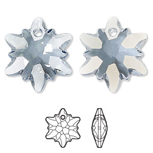 drop, swarovski crystals, crystal blue shade, 28mm faceted edelweiss pendant (6748). sold per pkg of 18.