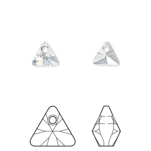 drop, swarovski crystals, crystal blue shade, 8mm xilion triangle pendant (6628). sold per pkg of 288 (2 gross).