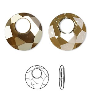drop, swarovski crystals, crystal bronze shade, 18mm faceted victory pendant (6041). sold per pkg of 30.