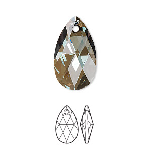 drop, swarovski crystals, crystal bronze shade, 22x13mm faceted pear pendant (6106). sold per pkg of 96.