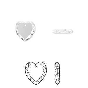 drop, swarovski crystals, crystal clear, 10x10mm faceted heart pendant (6225). sold per pkg of 24.