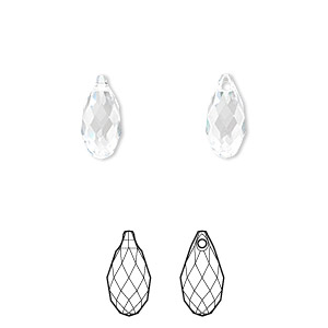 drop, swarovski crystals, crystal clear, 11x5.5mm faceted briolette pendant (6010). sold per pkg of 144 (1 gross).
