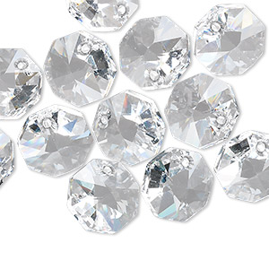 drop, swarovski crystals, crystal clear, 12x12mm faceted octagon pendant (6401). sold per pkg of 144 (1 gross).