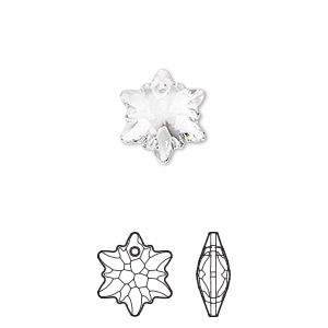 drop, swarovski crystals, crystal clear, 14mm faceted edelweiss pendant (6748). sold per pkg of 72.