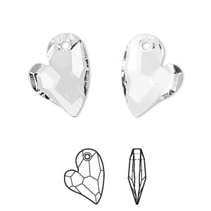 drop, swarovski crystals, crystal clear, 17x13mm faceted devoted 2 u heart pendant (6261). sold per pkg of 48.