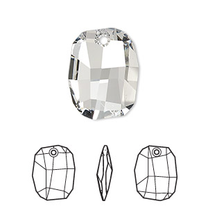 drop, swarovski crystals, crystal clear, 19x14mm faceted graphic pendant (6685). sold per pkg of 48.
