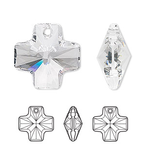 drop, swarovski crystals, crystal clear, 20x20mm faceted cross pendant (6866). sold per pkg of 72.