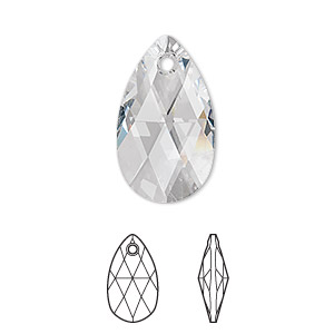 drop, swarovski crystals, crystal clear, 22x13mm faceted pear pendant (6106). sold per pkg of 96.