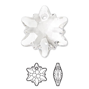 drop, swarovski crystals, crystal clear, 28mm faceted edelweiss pendant (6748). sold per pkg of 18.