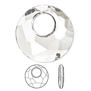 drop, swarovski crystals, crystal clear, 28mm faceted victory pendant (6041). sold per pkg of 12.