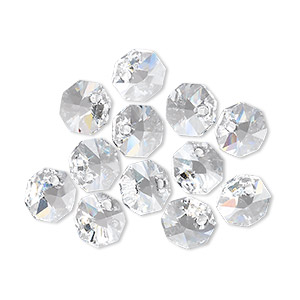drop, swarovski crystals, crystal clear, 8x8mm faceted octagon pendant (6401). sold per pkg of 288 (2 gross).