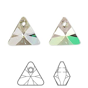drop, swarovski crystals, crystal luminous green, 16mm xilion triangle pendant (6628). sold per pkg of 72.