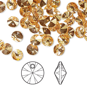 drop, swarovski crystals, crystal metallic sunshine, 6mm xilion rivoli pendant (6428). sold per pkg of 720 (5 gross).